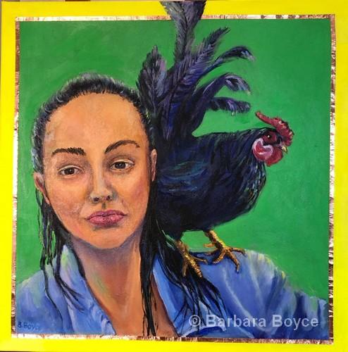 "Detroit: Andrea & Rooster | Acrylic | 20x20"" | Barbara Boyce"