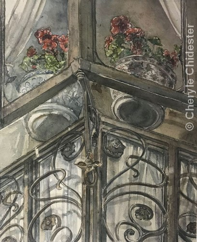 "Segovian Geraniums | Watercolor | 30x24"" | $750 | Cheryle Chidester"