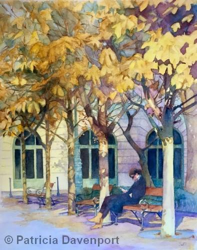 """SECOND PLACE: Szabadsag Ter   Watercolor   14x11""""   NFS   Patricia Davenport"""