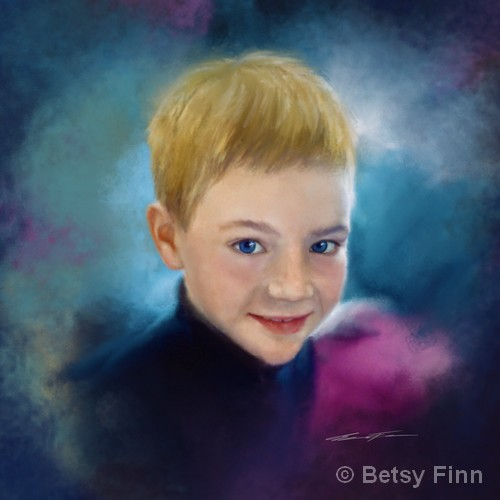 "Little Boy Blue   Digital Painting   16x16""   NFS   Betsy Finn"