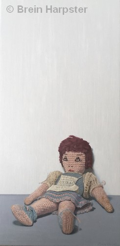 """HONORABLE MENTION: Elizabeth and Her Knots   Oil   18x9""""   $1000   Brein Harpster"""