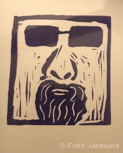 "Beatnik Dave | Linocut Print | 11.5x9.5"" | NFS | Faith Jasmund"