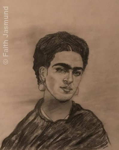 Frida | Charcoal | 25.5x21.5"
