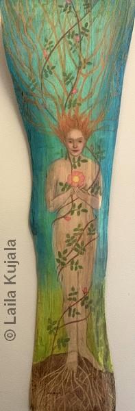 """Tree of Life   Colored Pencil   36x11""""   $480   Laila Kujala"""