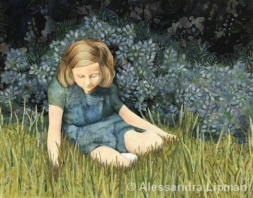 THIRD PLACE: Girl in the Grass | Fabric and Colored Pencil | 11x14"