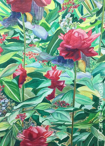 """Summer: A Rose is a Rose   Watercolor Crayon   24x18""""   $450   Carole Pawloski"""