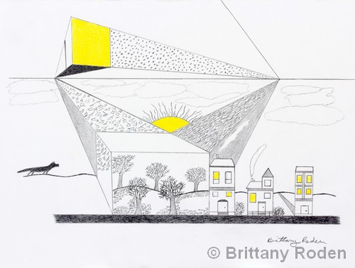 """Yellow Light Day and Time   Mixed Media   9x12""""   NFS   Brittany Roden"""