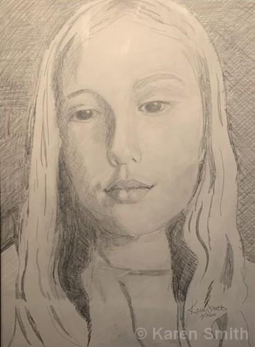 "Jordyn in a Mood   Graphite Pencil   23x18""   NFS   Karen Smith"