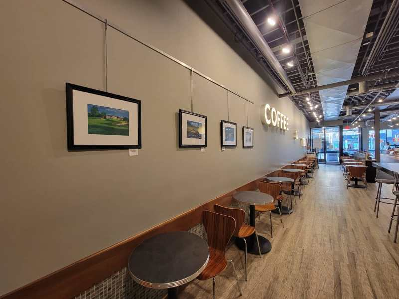 Betsy Finn's exhibit at Sweetwaters coffee and tea on Washington in Ann Arbor.